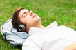 Relaxed man listening music
