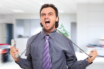 Stressed businessman strangling himself