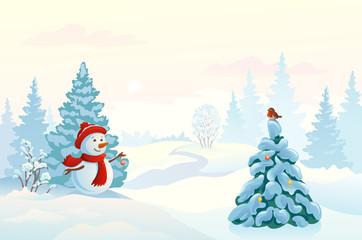Snowman and a bird