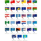 Icons with the flags of Australia and Oceania