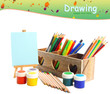 Different pencils in wooden crate, paints and easel, isolated