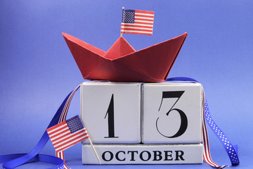 Happy Columbus Day calendar for Monday October 13