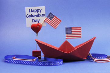 USA holiday, Happy Columbus Day, decorations.