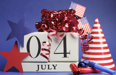Fourth of July white block calendar with decorations