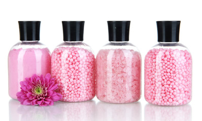 Aromatherapy minerals - colorful bath salt isolated on white