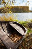 Old wooden boat at the autumn riverbank