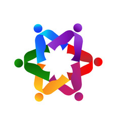 Teamwork colorful 6 logo vector