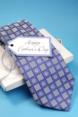 Happy Fathers Day gift of a blue pattern check tie