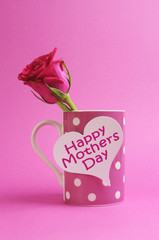 Happy Mothers Day coffee mug and pink rose