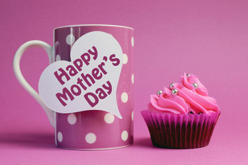 Happy Mothers Day coffee mug and cupcake