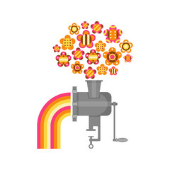 Illustration of a grinder with flowers and rainbows