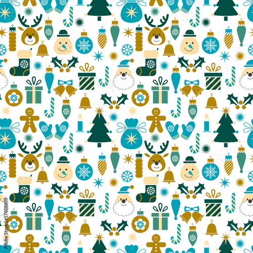 Seamless pattern Christmas symbols