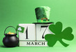 Leinwanddruck Bild - Save the date St Patrick's Day, March 17 calendar