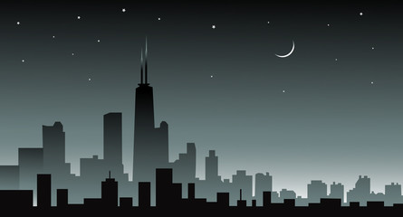 Chicago skiline at Night - vector