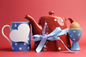 Red, white and blue breakfast with polka dot tea pot