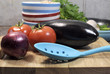 Vegetarian cooking concept with eggplant and vegetables