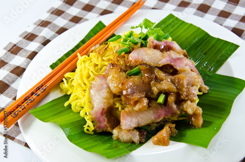 Chinese egg noodles with pork