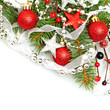 Christmas background with Xmas tree, silver star, red decoration