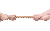 Tug-of-war. Two people pulling a rope in opposite direction