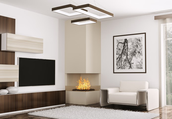 Interior of modern room with fireplace 3d render