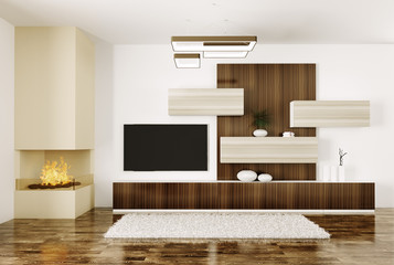 Interior of room with fireplace and plasma tv 3d