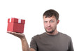 Bearded man with gift box on white background