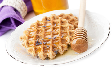 Waffles with lavender honey
