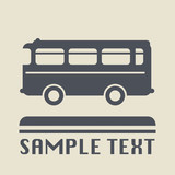 Bus icon or sign, vector illustration