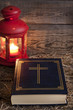 Bible and Christmas time abstract background in night