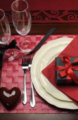 Formal Valentine dinner table setting