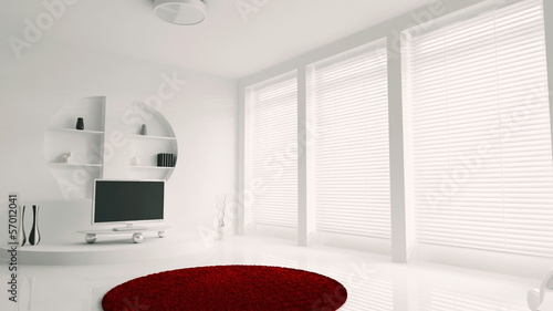 Interior of white living room animation