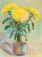 Chrysanthemums in a decanter