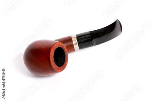 Retro tobacco pipe on a white background.