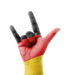Hand making I love you sign, Germany flag painted