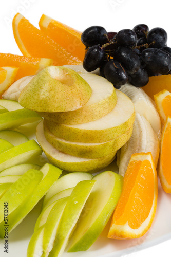 Assorted fruits of orange, apple, grapes, pears