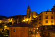 night view of picturesque  houses in Albarracin