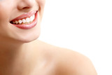 Fototapety Beautiful wide smile of young fresh woman with great healthy whi