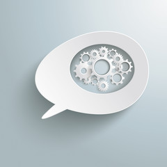 White Bevel Speech Bubble Gear Machine PiAd
