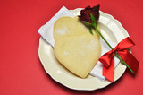 Heart shape shortbread cookies with red rose