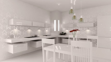 Interior of modern white kitchen animation