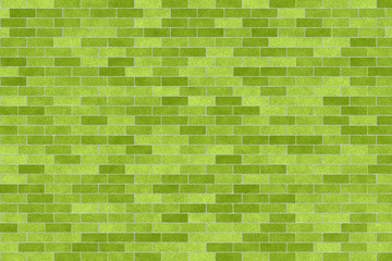 Closeup of green brick wall