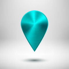 Technology Map Pointer Button with Cyan Metal Texture