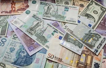 Dollar, euro, Polish zloty money, Ukrainian money, rouble