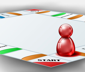 Board game with red figure