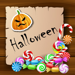 Halloween text frame with candies and pumpkin sticker