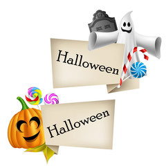 Halloween labels with cartoon pumpkin head and ghost