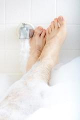 Soaking in the bathtub.