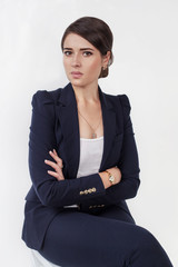 Beautiful business girl in black suit