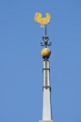 Golden weather vane close up