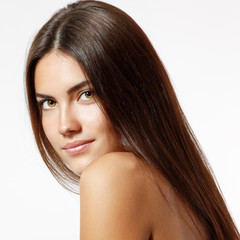 young woman beautiful cheerful enjoying with long strong brown h